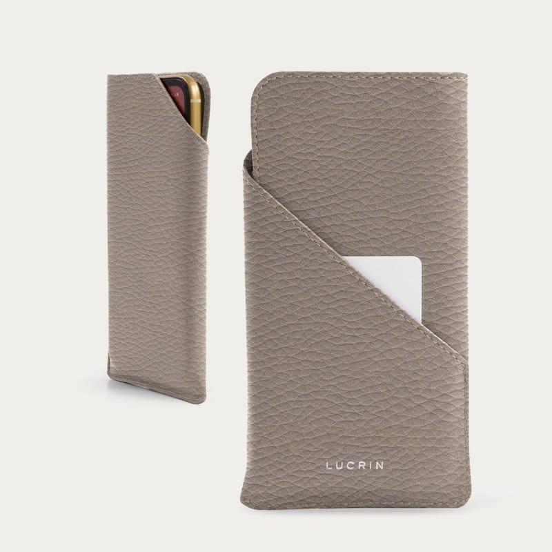 Étui iPhone 11 Pro et Carte Crédit - Taupe Clair - Cuir Grainé