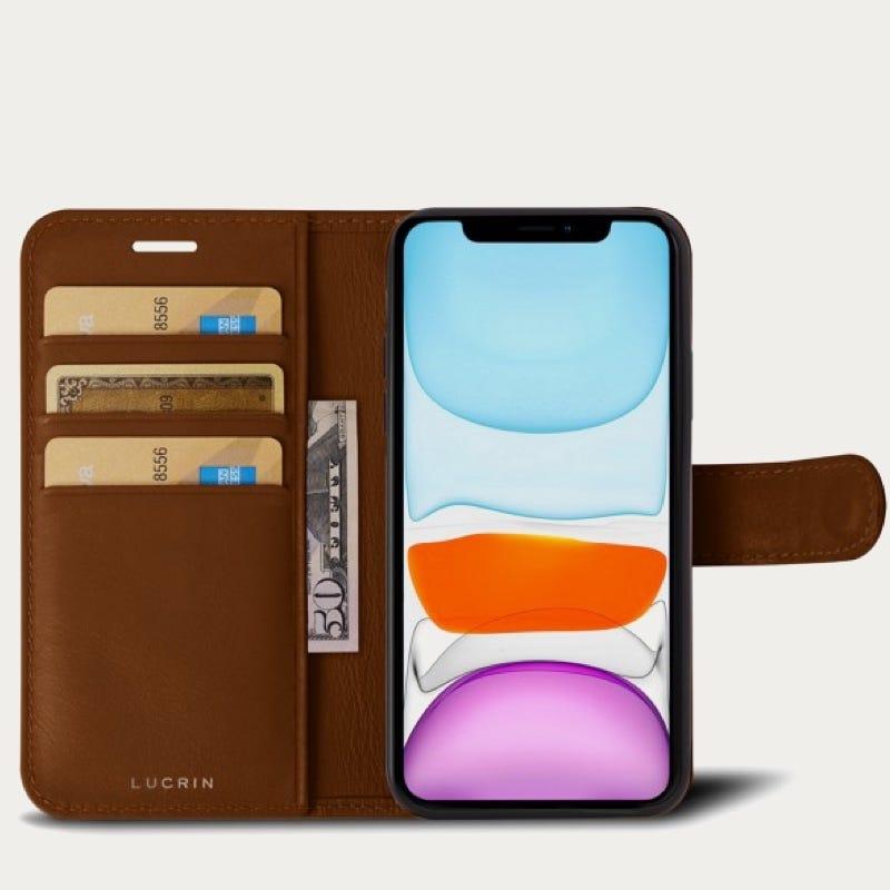 Portefeuille iPhone 11 Pro Max - Cognac - Cuir Lisse