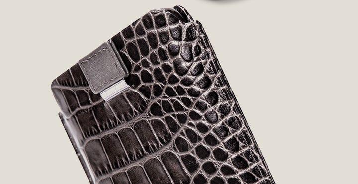 Étui Tirette iPhone 11 Pro - Gris Souris - Veau Façon Crocodile