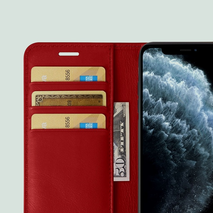 Portefeuille iPhone 11 Pro Max - Rouge - Cuir Lisse