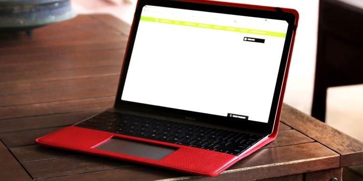 Ecrin MacBook - Rouge - Cuir Grainé