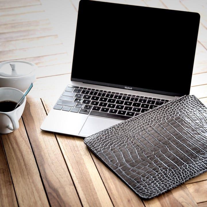 Housse MacBook - Orange - Cuir Grainé