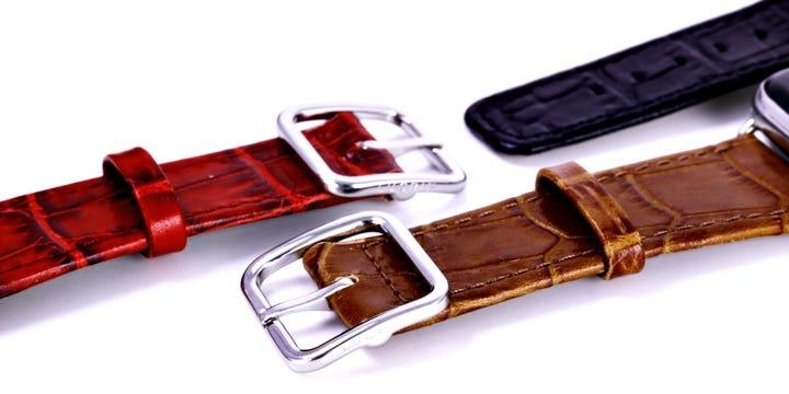 Bracelet élégance Apple Watch Series 5 - (44 mm) - Camel - Veau Façon Crocodile