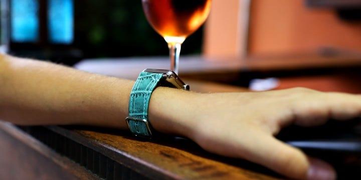 Bracelet Apple Watch Series 5 - (40 mm) - Turquoise - Veau Façon Crocodile